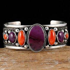 GUY HOSKIE Navajo Natural Purple Sugilite & Coral  Bracelet Sterling Silver