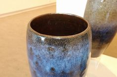 Craig Edwards - Cylinder III - stoneware with Temoku and chun glaze - 2014, Strathnairn by the Lake exhibition, Belconnen Arts Centre, August-Sept 2014