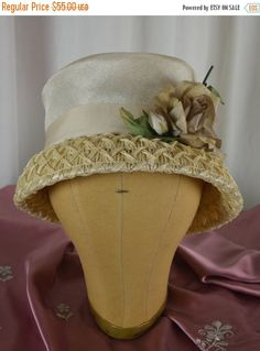 Summer Sale Beige Hat, Stingy Brim Hat, Straw Hat, Flower, Tea Party, Downton Abbey, Spring Hat, Summer Hat, Woven Hat