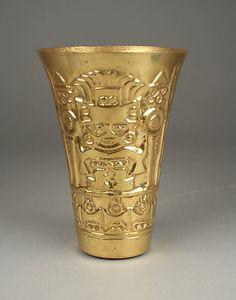 Beaker  Date:     10th–11th century Geography:     Peru Culture:     Sicán (Lambayeque) Medium:     Gold