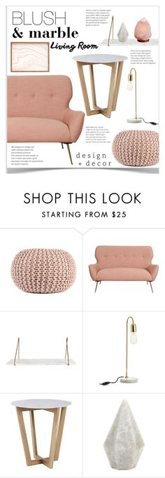 """Blush & Marble Living Room"" by chakragoddess ❤ liked on Polyvore featuring interior, interiors, interior design, home, home decor, interior decorating, Bloomingville and living room"