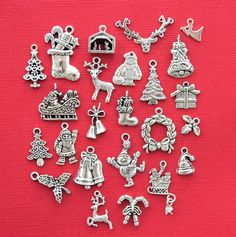 Christmas Charm Collection This Ultimate Holiday Collection includes Santa charms Reindeer charms ect.. 24 Different Charms in all - COL114 by BohemianFindings on Etsy https://www.etsy.com/listing/165967236/christmas-charm-collection-this-ultimate