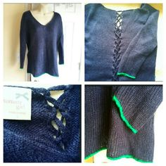 """Tommy Girl Sweater (L) Awesome Tommy Girl Sweater with laced up detail in the back. You can adjust yourself how fitted you want it to be. It is dark blue and has and green trim at bottom and at the arms as seen on photos. Size L, but it stretches, it would fit up to a size 12. 28""""Long, 22 """" wide measuered flat armpit to armpit.  100 acrylic. Tommy Girl Sweaters V-Necks"""