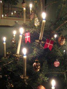 §§§ . Christmas tree lit by candles, Denmark