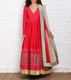 #Red Embroidered #Chanderi #Anarkali #Suit by #Vijay-Balhara at #Indianroots