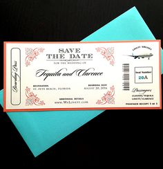 Save the Date Airline Ticket- Boarding Pass invitation- Jetsetter Wedding Theme - Wedding Invitation by PoeticTwistDesign on Etsy https://www.etsy.com/listing/254801390/save-the-date-airline-ticket-boarding