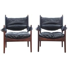 Mid-Century Modern Danish Pair of Lounge Chairs in Rio Rosewood Model Modus | From a unique collection of antique and modern lounge chairs at https://www.1stdibs.com/furniture/seating/lounge-chairs/