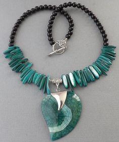 Green Crab Agate gemstone pendant,MOP shell sticks,black Onyx beads handmade jewelry necklace