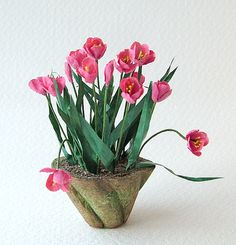 Mossy pot of pink tulips in 12th, one inch scale on Etsy, Sold