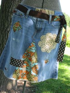 recycled jeans, funky upcycled skirt, patches, fashionable
