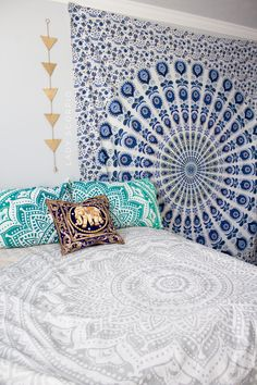 Boho Vibes ☽ ✩ Save 25% off all orders with code PINTERESTXO at checkout | Bohemian Bedroom + Home Decor | Mandala Tapestries, Wall Hanging & Twilights Decor by Lady Scorpio | Elephant Sequin Pillow Blue tapestry Turquoise Pillows Shop Now LadyScorpio101.com | @LadyScorpio101 | Photography by Luna Blue @Luna8lue