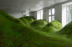 Grassy valley in No Place Gallery, Oslo - by Kristian Nygård