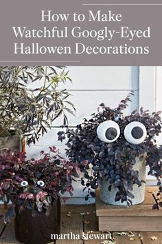Our large googly-eyed Halloween decorations bring nooks and crannies around your home hilariously to life this Halloween season. Follow our simple tutorial for these googly-eyed decorations along with other cute and not spooky Halloween crafts. #marthastewart #halloween #halloweendecor #diyideas #diyhalloween #halloweenlivingroom Spooky Halloween Crafts, Outdoor Halloween, Spirit Halloween, Halloween Decorations, Halloween Ideas, Halloween Season, Fall Halloween, Halloween Party, Halloween Living Room