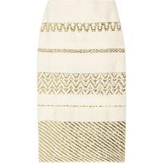 Suno Metallic cotton-blend pencil skirt