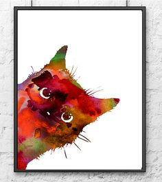 Colorful Watercolor Cat Art Print, Animal Wall Decor, Animal Painting, Cat Art - 493