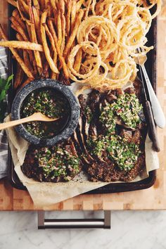 Frugal Food Items - How To Prepare Dinner And Luxuriate In Delightful Meals Without Having Shelling Out A Fortune Grilled Portobello Steaks With Chimichurri And Crispy Onion Strings Recipe On Clean Eating Dinner, Clean Eating Recipes, Clean Eating Snacks, Healthy Eating, Breakfast Healthy, Healthy Nutrition, Eating Habits, Healthy Snacks, Portobello Steak