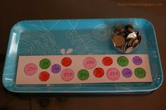 A piece of card that you have traced the various coins on, writing the coins value on each, and a cup full of coins  Child uses the coins to match the appropriate coin with it's value/place on the card.