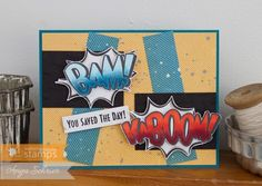 February 2015 NEW RELEASE Showcase Day 2! Card by Anya Schrier featuring Kaboom clear stamp set and Kaboom Die.  Shop here - http://www.waltzingmousestamps.com/     Waltzingmouse Stamps Blog - http://waltzingmouse.blogspot.ie/ #wms #waltzingmouse #superhero #kaboom