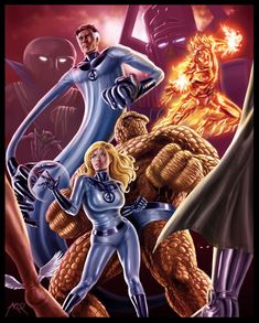 Digitally painted with Wacom Intuos 3 I wanted to do a practice piece. When I heard the Fantastic Four had their anniversary, I thought that would . Fantastic Four Fantastic Four Marvel, Mister Fantastic, Marvel Comics Art, Marvel Heroes, Ms Marvel, Captain Marvel, Mundo Marvel, Comic Book Heroes, Comic Books Art