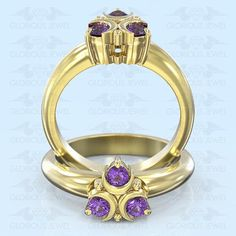 Glorious Custom made Zelda Hyrule Warrior inspired ring with Natural Amethyst stones / Silver.925 or Gold 14K made to order