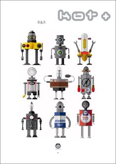 Anything robots is a hit with me. Nice little sampling from R & R - KOT ILLUSTRATION.