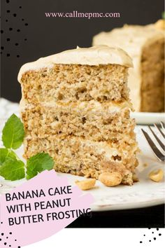 Scratch-Made Banana Cake with Peanut Butter Frosting Recipe is the ultimate dessert for the ultimate banana and peanut butter lover! #banana #bananacake #layercake #peanutbutter #peanutbutterfrosting #peanutbuttericing #dessert #Recipe #callmepmc Peanut Butter Desserts, Peanut Butter Frosting, Peanut Butter Banana, Butter Icing, Frosting Recipes, Cake Recipes, Dessert Recipes, Sweet Recipes, Quick Dessert