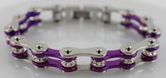 Women's Motorcycle Chain Bracelet - Silver Purple - Crystal