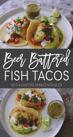 Beer battered fish tacos with tomatillo & lime salsa Fish Recipes, Seafood Recipes, Beer Battered Fish Tacos, Cilantro Salsa, Spicy Soup, Main Meals, Engineer, Easy Dinner Recipes, Lime