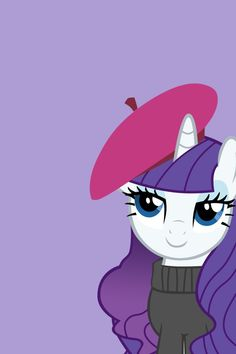 Rarity wearing a hat that I can't remember the name of right now.