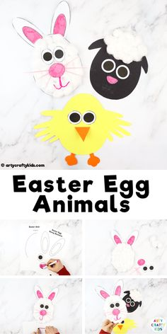 Easter Egg Animal Craft Animal Easter Egg Craft for Kids to Make- A simple cut + stick craft for kids that transforms Easter eggs into cute Spring animals! This craft can be completed with our handy p Animal Crafts For Kids, Spring Crafts For Kids, Crafts For Kids To Make, Sheep Crafts, Bunny Crafts, Easy Arts And Crafts, Easter Crafts For Kids, Craft Stick Crafts, Preschool Crafts