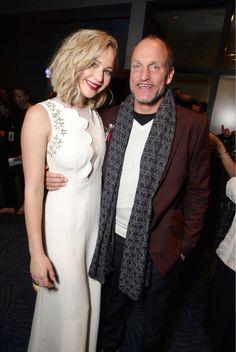 At the #MockingJayPart2 premiere! Jennifer & Woody!