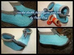 crochet double face adult size slippers part two Crochet Double, Love Crochet, Crochet Granny, Crochet Baby, Knit Crochet, Knitted Booties, Crochet Boots, Crochet Slippers, Crochet Scarves