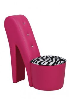 Merveilleux Shoe Chair | Shoe Chair By GFW   Hot Pink With Animal Print Crystal  Stiletto Chair