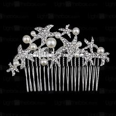 Palace Hairpins Starfish Comb for Women Rhinestone Crystals Wedding Hair Accessories Party Wedding Bridal Jewelry - USD $5.99