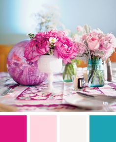Layered pink with a splash of teal | Color Palette Inspiration | blog.theknot.com