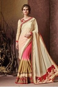 Net and Pure Georgette Heavy Embroidery Designer Saree In Beige and Pink Colour