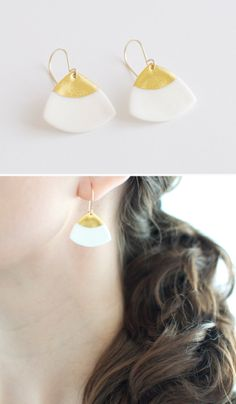 New in the shop! Laura earrings, perfect for summer!!! Enjoy 25% off with code SUMMER14 Gold  porcelain www.byloumi.etsy.com