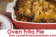 Oven Frito Pie- A quick and easy dinner from LynnsKitchenAdventures.com