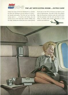 1960s Vintage United Airlines Advertisment Talk about room aboard the aircraft back then!