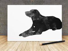 Labrador Retriever Dog Art Black Labrador Pet Print Watercolor Illustration