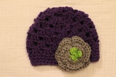 Baby+girl/+newborn+crocheted+hat.++Purple+hat+with+by+BooBooButton,+$23.00