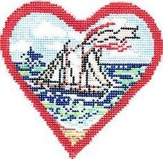 "Postcard Boat Heart | Cooper Oaks Design $66. | Rittenhouse Needlepoint 6"" x 6"""