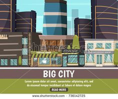 Big city flat urban landscape with modern mall building and different small shops vector illustration