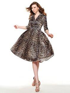50186dfe23 Bridess Half Sleeve Leopard Women s Vintage Pin Up Dress Lapel Knee-Length  Half Sleeve Rockabilly