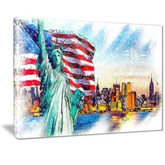 Lady Liberty Canvas Art Print | PT2823