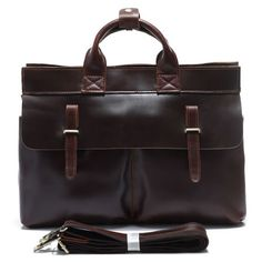 "Vintage Handmade Leather Briefcase / Messenger / 15"" Laptop 15"" MacBook Bag in Dark Brown"
