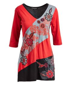 Red Floral Embroidery Color Block V-Neck Tunic - Plus Too