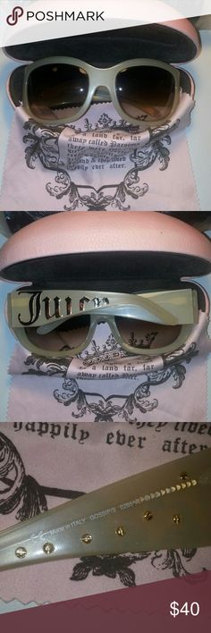"""Authentic Juicy Couture Sunglasses w/Hard Case Hard to find.. Discontinued.. Juicy Couture """"Gossips"""" Size 60 * 20 * 125 Style # 02B8 Y6 -also comes with the microfiber lense cleaner.  All in gently used condition. Glasses are oversized & fabulous! Color is """"Fog"""" (Beige pearl) with brown gradient lenses. These are high end Juicy's they retail for $195.00 These can be found on coolframes.com/? Fid=6576 for a better description & pictures. Well made & SO Comfortable to wear!! You will love…"""