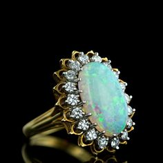 Vintage Opal and Diamond Cocktail Ring #vintage #jewelry #ring