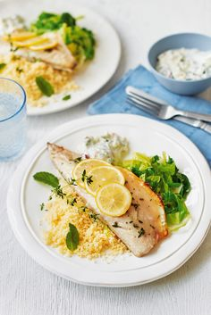 This zesty mackerel served with fluffy couscous and a creamy apple tzatziki is a delicious dinner for two. Healthy and on the table in just half an hour, it's perfect for rustling up midweek. | Tesco